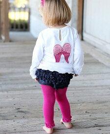 Ruffle Butts フューシャ 濃いピンク ラッフル タイツ レギンス すそのフリルがキュート ラッフルバッツ ボトムス フリル 1歳 2歳 3歳 ひざあて 乳幼児 ハイハイ 80cm 90cm 70cm 子供服 キッズ ベビー 赤ちゃん インナー インポート Fuchsia Ruffled