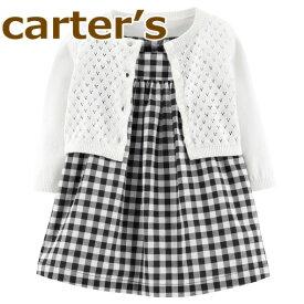 【送料無料】【2019新作】Carter's カーターズ 正規品 ワンピース 長袖カーディガン ブルマの3点セット☆黒ギンガムチェック☆女の子