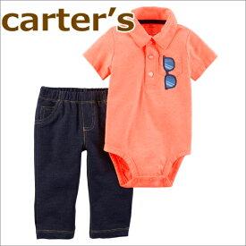 【送料無料】カーターズ Carter's 正規品 半袖 襟付きボディスーツ&ソフトデニムパンツ の2点セット☆蛍光サングラス☆男の子