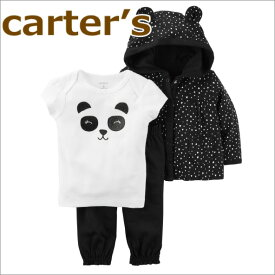 【送料無料】カーターズ 正規品 長袖パーカー+半袖Tシャツ+レギンスの3点セット☆モノトーンパンダ☆女の子