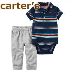 【送料無料】カーターズ Carter's 正規品 半袖ポロシャツ,ボディスーツ+パンツの2点セット☆紺ボーダー☆男の子