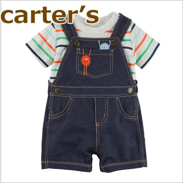 【送料無料】カーターズ セット 半袖 ボーダーTシャツ+デニム調 オーバーオール2点セット☆モンスター☆男の子