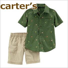 【送料無料】カーターズ Carter's 正規品 襟付きシャツ+コットンパンツの2点セット☆モスグリーン☆男の子