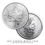 Coin【コイン】【25枚セット】2021年製メイプルリーフ銀貨25枚セットカナダ1オンス38mm