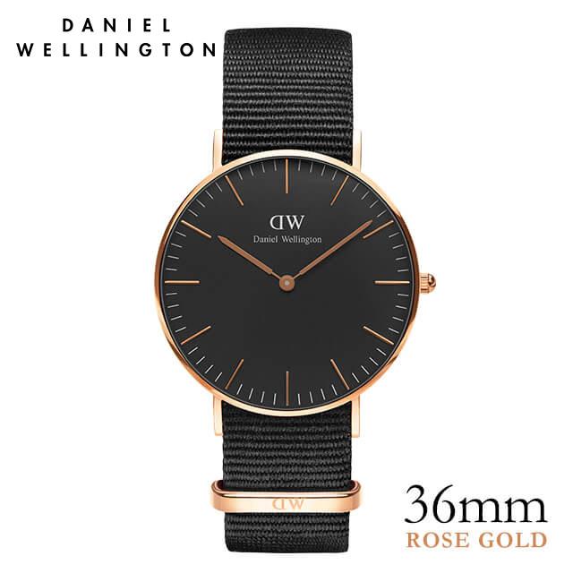 ダニエルウェリントン 36mm Daniel Wellington クラシックブラック コーンウォール ローズゴールド 腕時計 ★ポイント10倍