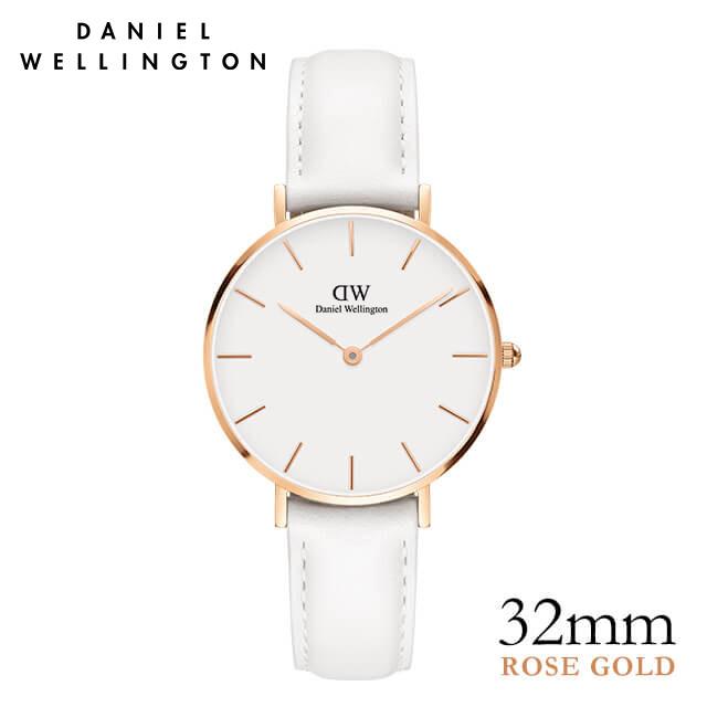 ダニエルウェリントン 32mm 白 Daniel Wellington クラシック ペティット ボンダイ ローズゴールド 腕時計 レディース