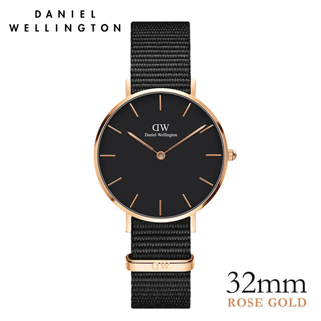 ダニエルウェリントン 32mm Daniel Wellington クラシックペティット ブラック コーンウォール ローズゴールド ★ポイント10倍