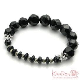 コンロン【KONRON】KRBCB1314-OMIX ロータス ストーン ブレスレット オニキスミックス