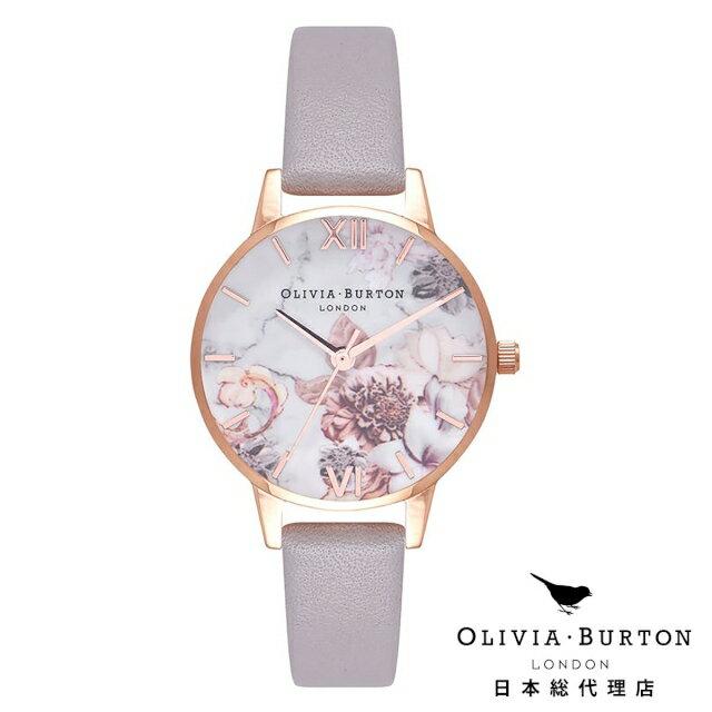 オリビアバートン レディース 腕時計 Olivia Burton マーブルフローラル グレイライラック & ローズゴールド 新作