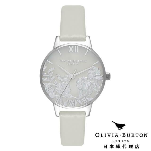オリビアバートン レディース 腕時計 Olivia Burton レースディティール グレイマザーオブパール ライトグレイ & シルバー 新作
