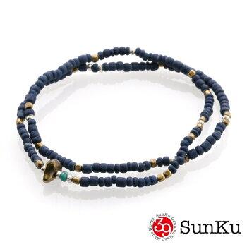 SunKu39【サンク】インディゴダイビーズアンクレット&ネックレス