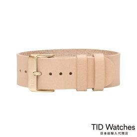 ティッドウォッチズ【TID Watches】 ナチュラル レザー ベルト - ゴールド バックル - 替えベルト ピンク ベージュ