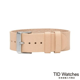 ティッドウォッチズ【TID Watches】 ナチュラル レザー ベルト - スティール バックル - 替えベルト ピンク ベージュ