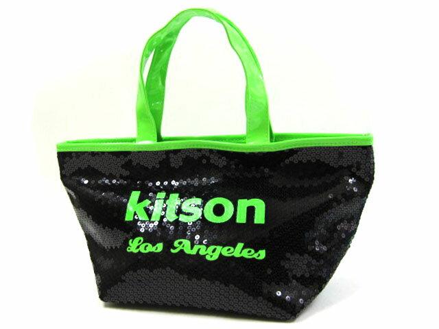 ★kitson★ キットソン 3578 ミニスパンコール トートバッグ ブラック×ネオングリーン 【あす楽対応】【RCP】【楽天カード分割】