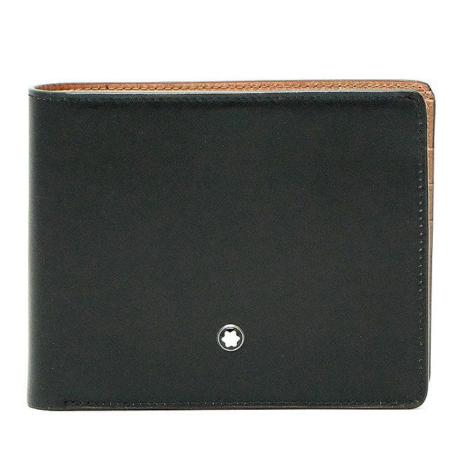 【訳あり】【アウトレット】 MONTBLANC モンブラン 101935 カードホルダー付き二つ折財布 ブラック タン 【送料無料】 【RCP】