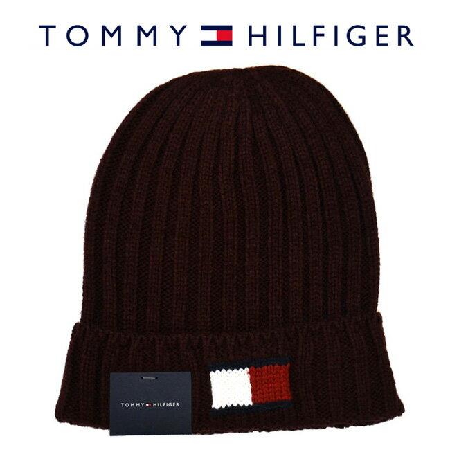 【メール便は送料無料】 TOMMY HILFIGER トミーヒルフィガー H8H73210 605 ニットキャップ Knit Logo Cuff Hat バーガンディ メンズ レディース ユニセックス ニット帽 ロゴ 【RCP】
