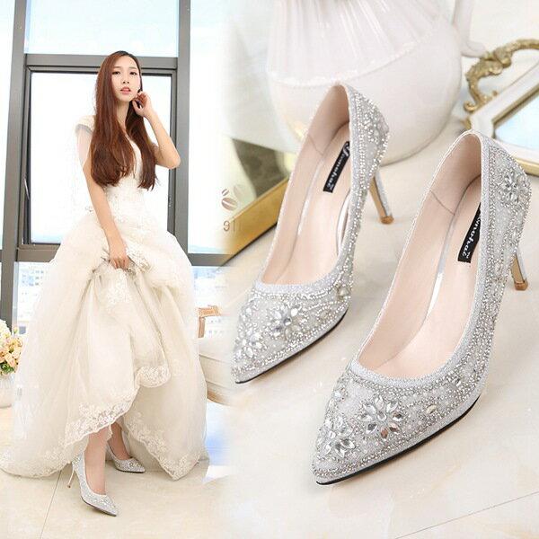 結婚式 パンプス 痛くない  ハイヒール 8cm 結婚式 靴 ウェディングシューズ パーティーシューズ レディース結婚式 レディース靴 ポインテッドトゥ 美足パンプス ハイヒール パール ストーン 小さいサイズ大きいサイズ対応(21.5cm)-(25cm) 歩きやすい