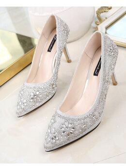 ウェディングシューズハイヒール8cm結婚式靴ウェディングシューズ痛くないパーティーシューズレディース結婚式レディース靴ポインテッドトゥ美足パンプスハイヒールパールストーン小さいサイズ大きいサイズ対応(21.5cm)-(25cm)歩きやすい