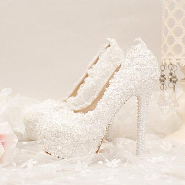 ウェディングシューズ ハイヒール レース 結婚式 靴 ウェディングシューズ 痛くない パーティーシューズ レディース結婚式 レディース靴 ポインテッドトゥ 美足パンプス ハイヒール パール 小さいサイズ大きいサイズ対応(22.5cm)-(24.5cm) 歩きやすい