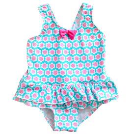 【短納期】水着 女の子 キッズ ジュニア フリル 花柄 ブルー かわいい スイムウェア 子供用 こども 女児 プール 海 水遊び おしゃれ 身長 90 95 100 110 120 130