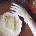 【Diary of love 愛の日記】グローブ ウェディング 手袋 結婚式 小物 グローブショート パール贅沢 レディース 指な…