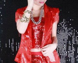 スパンコール衣装☆フロントスパンコールキャミ☆スパンコールダンス衣装 スパンコールタンクトップ トップス インナー コスチューム 