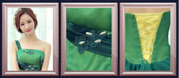 【Diaryoflove愛の日記】ロングドレス演奏会カラードレスウエディングドレスロングドレス演奏会・忘年会プリンセスラインお花コサージュが可愛いオーガンジードレス!サイズ調整可能ドレスカラーバリエーションドレス色違い大きめサイズ