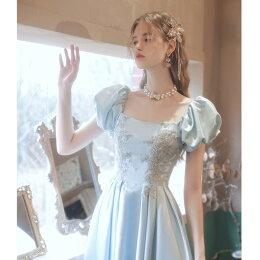 カラードレスAライトドレスウェディングドレスウェディングドレスパフスリープコンサート結婚式・パーティー・二次会・発表会・謝恩会・披露宴・演奏会編み上げクラシカルウェディングドレス・花嫁ドレス・パーティードレス・イブニングドレス・大きいサイズ
