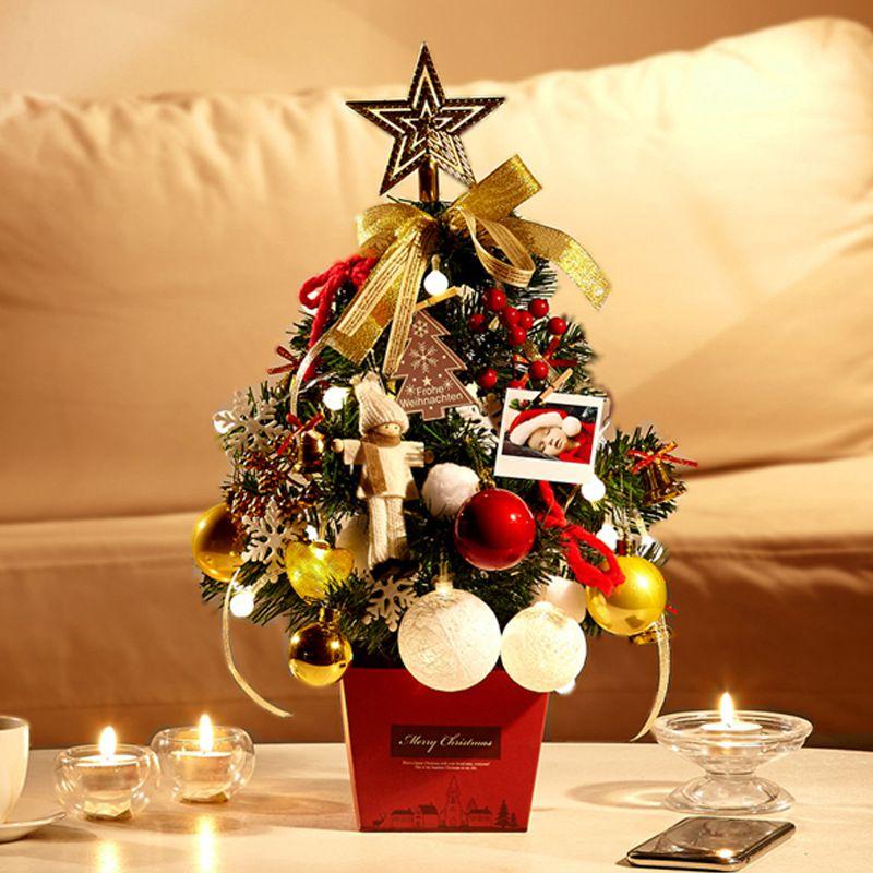 短納期 送料無料 クリスマスツリー mini50cm/LEDライト付き クリスマス イルミネーション オーナメント付きクリスマスツリー オーナメントセット オーナメント セット リボン クリスマスツリーセット LED レッド ゴールド