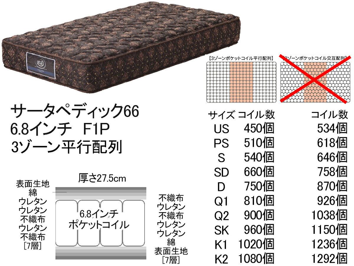 【開梱設置送料無料:梱包廃材引取り処分】サータペディック66F11P6.8インチ 3ゾーン並行配列SDサイズ幅122cmセミダブルサイズサータベッド serta ポケットコイル