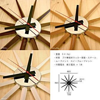 放射線状に延びるフレームがおしゃれ!掛け時計ウォールクロックアトラス2クロック(Atras2-clock)アートワークスタジオ(ARTWORKSTUDIO)TK-2074カラー(ホワイト/ナチュラル/ブラウン)