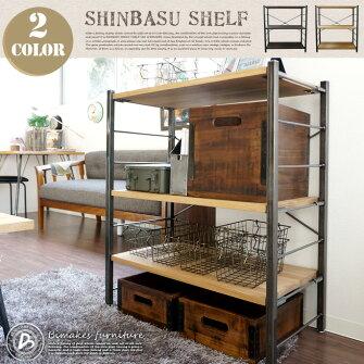 IRONフレームと天然木のヌクモリが魅力のコンパクトシェルフ!SHINBASUSHELF(シンバスシェルフ)BIMAKES(ビメイクス)全2色(オーク/ウォールナット)送料無料