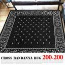 Cross Bandanna Rug Black(クロス バンダナ ラグ ブラック) 200×200cm 2597BKLL 送料無料