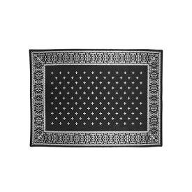 ラグマット フロアラグ カーペット 絨毯 クロスバンダナラグ ブラック cross bandanna rug Black 2597BKL アクリル 200×140cm 水洗い可能 洗える ホットカーペット対応 バンダナ柄 バーガンディー インダストリアル ビンテージ 【送料無料】