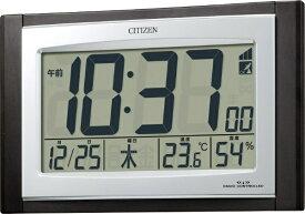 リズム時計 RHYTHM 置き時計 【パルデジットコンビR09】 茶木目仕上 8RZ096-023 [電波自動受信機能有][8RZ096023]