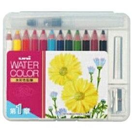 三菱鉛筆 MITSUBISHI PENCIL [水彩色鉛筆] ユニ ウォーターカラー ぬり絵用 コンパクトセット12色 (ベーシックトーン) UWCNCS12C1[UWCNCS12C1]