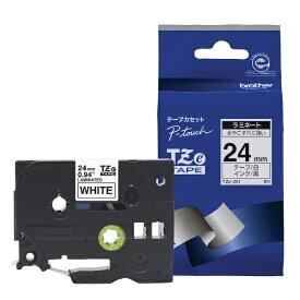 ブラザー brother 【ブラザー純正】ピータッチ ラミネートテープ TZe-251 幅24mm (黒文字/白) TZe TAPE 白 TZe-251 [黒文字 /24mm幅][TZE251]