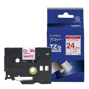 ブラザー brother 【ブラザー純正】ピータッチ ラミネートテープ TZe-252 幅24mm (赤文字/白) TZe TAPE 透明 TZe-252 [赤文字 /24mm幅][TZE252]