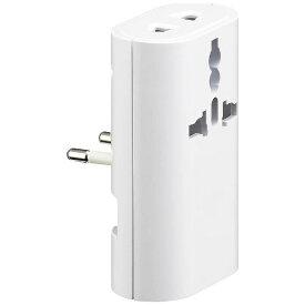 ヤザワ YAZAWA 海外旅行用変換プラグ(マルチタイプ)+USB HPM4WH 白