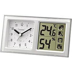リズム時計 温湿度計付き目覚まし時計 「ライフナビ648A」 8RE648-A03(白)[8RE648A03]