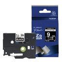 ブラザー brother ピータッチ(P-touch) ラミネートテープ (黒テープ/白文字/9mm幅) TZe-325[TZE325]