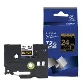 ブラザー brother 【ブラザー純正】ピータッチ ラミネートテープ TZe-354 幅24mm (金文字/黒) TZe TAPE 黒 TZe-354 [金文字 /24mm幅][TZE354]