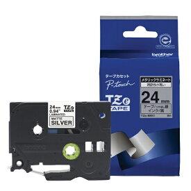 ブラザー brother 【ブラザー純正】ピータッチ ラミネートテープ TZe-M951 幅24mm (黒文字/銀/つや消し) TZe TAPE 銀(つや消し) TZe-M951 [黒文字 /24mm幅][TZEM951]
