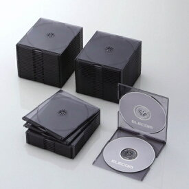 エレコム ELECOM CD/DVD/Blu-ray対応スリムケース 2枚収納×50 クリアブラック CCD-JSCSW50CBK[CCDJSCSW50CBK]