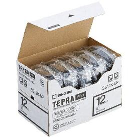 キングジム KING JIM テプラ(TEPRA) 白ラベルテープ (白テープ/黒文字/12mm幅・5個パック) SS12K-5P[SS12K5P]