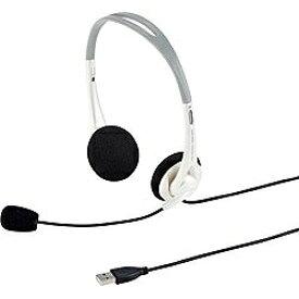 サンワサプライ SANWA SUPPLY ヘッドセット ホワイト MM-HSUSB16W [USB /両耳 /ヘッドバンドタイプ /ダイナミック型30mm(ステレオ)][MMHSUSB16W]