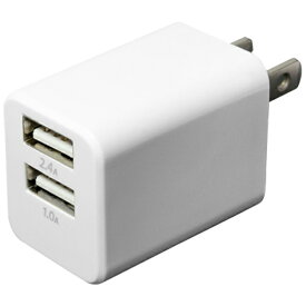 ミヨシ MIYOSHI タブレット/スマートフォン対応[USB給電] AC−USB充電器 (2ポート:2.4A/1.0A・ホワイト) IPA-24U/WH[IPA24UWH]