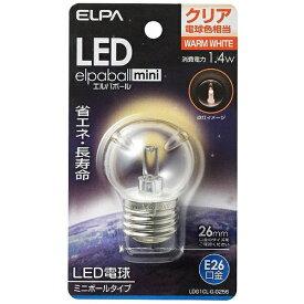 ELPA エルパ LDG1CL-G-G256 LED装飾電球 ミニボール電球形 LEDエルパボールmini クリア [E26 /電球色 /1個 /ボール電球形][LDG1CLGG256]