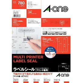 エーワン A-one ラベルシール プリンタ兼用 ホワイト 31673 [A4 /12シート /65面 /マット]【rb_mmmf】