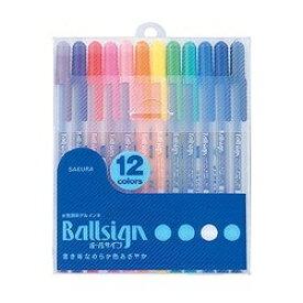 サクラクレパス SAKURA COLOR PRODUCT [キャップ式ボールペン] ボールサイン 12色セット (ボール径0.6mm) PGB12[PGB12]